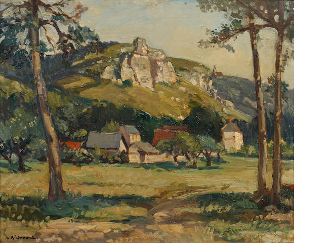 Leonard Richmond (British, 1889-1965) Farm buildings beneath a rocky outcrop