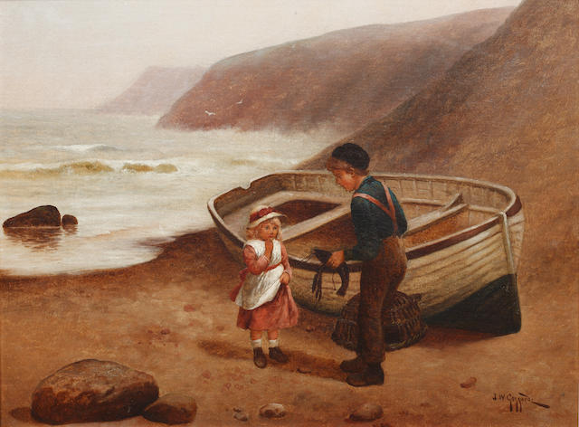 James Walter Gozzard (British, 1888-1950) Children on a beach; family by a seaside cottage