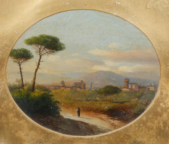 E. Altrui (Italian, 19th Century) View of Pisa; view of Florence
