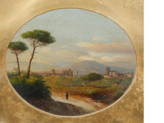 E. Altrui (Italian, 19th Century) View of Pisa; view of Florence