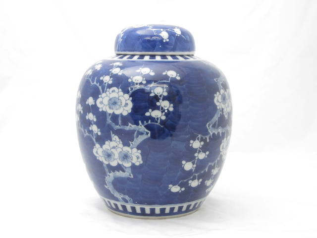 A blue and white ginger jar and cover Bearing Kangxi six character mark but late 19th century