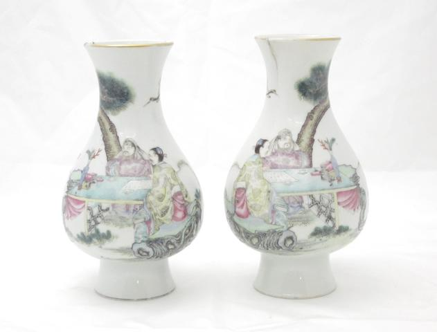 A mirrored pair of famille rose pear-shaped vases Bearing Qianlong seal mark but 20th century