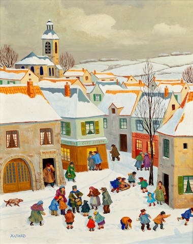 Jean Axatard (French, born 1931) Village In The Snow