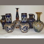 A collection of Doulton Lambeth vases