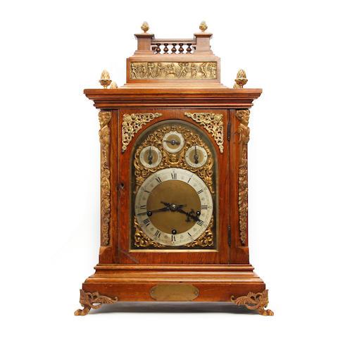 An impressive turn of the 20th century German musical oak and ormolu bracket clock Winterhalder and Hofmeier