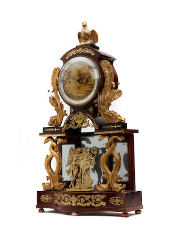 An early 19th Century Austrian mahogany repeater table clock with automaton Anonymous