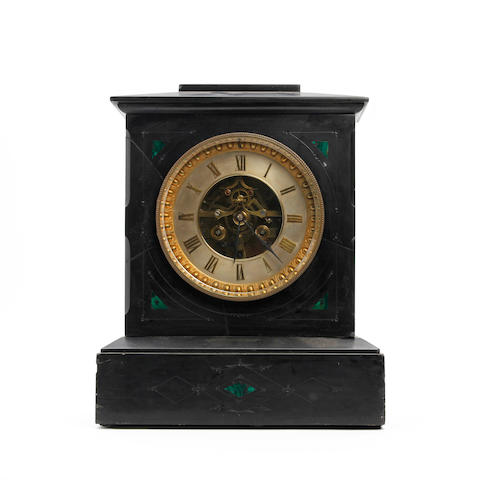 A 19th century French slate mantel clock with open Brocot escapement H.P. & Co. (on backplate)