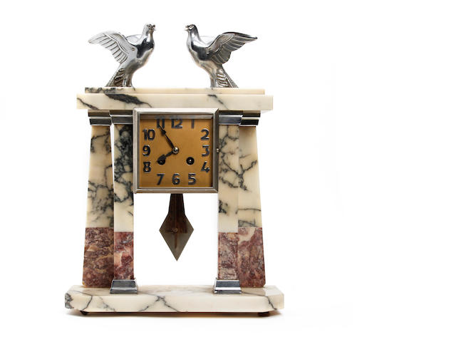 A French marble and chrome Art Deco portico mantle clock Anonymous