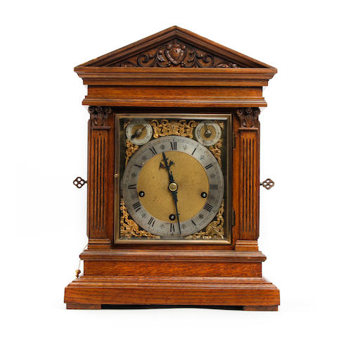 A late 19th century German oak repeater mantle clock with Westminster chime Winterhalder and Hofmeier