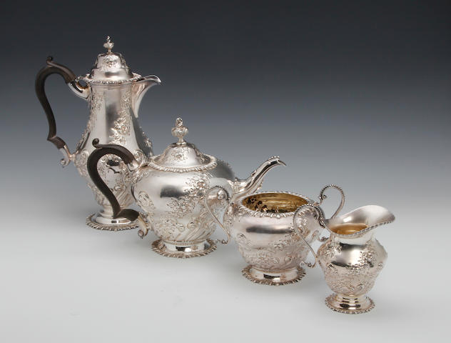 An Edwardian silver four piece tea and coffee service by Sissons and Sissons, London 1903