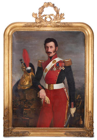 French School, early 19th Century Three quarter length portrait of an officer, in full uniform and regalia