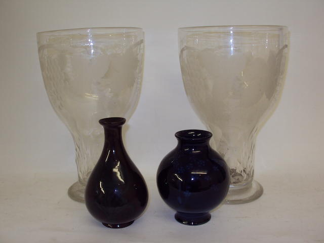 A pair of 19th century engraved glass vases and two Art Nouveau vases