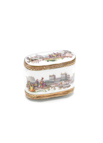 A Meissen gilt-metal-mounted oval double snuffbox, circa 1765