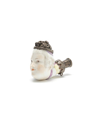 A Meissen metal-mounted pipe head, circa 1745