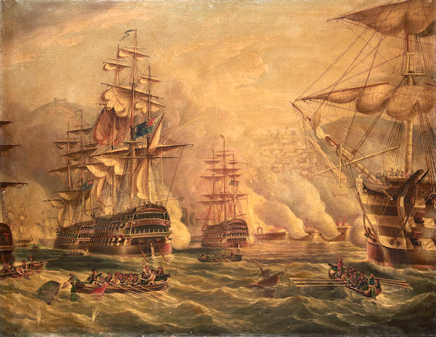 Attributed to Richard Barnett Spencer (British, active 1840-1874) A naval battle (believed to be the bombardment of Algiers)