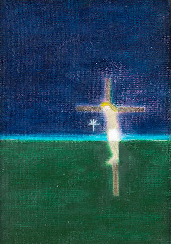 Craigie Aitchison (British, 1926-2009) Crucifixion 6 17.6 x 12.3 cm. (7 x 4 7/8 in.)