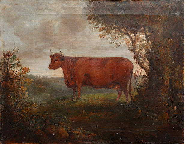 English Primitive School, 19th Century Cow before a landscape Unframed