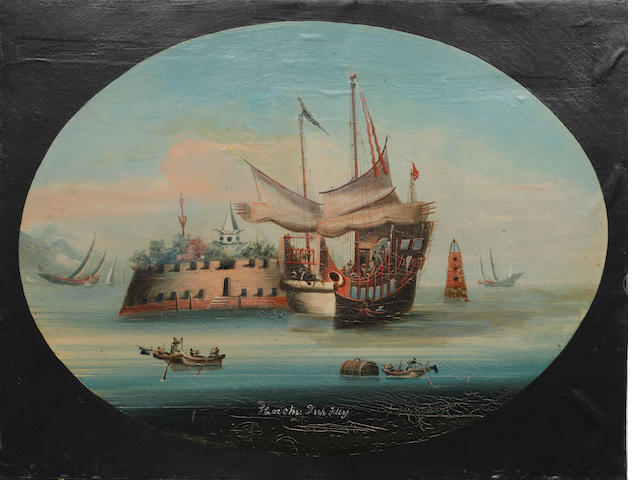 Chinese School, 19th Century Four Chinese trade ports - Canton, Wampo, Roque and Horchu, Unframed