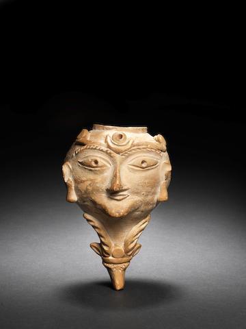 A Soghdian pottery rhyton 7th-8th century