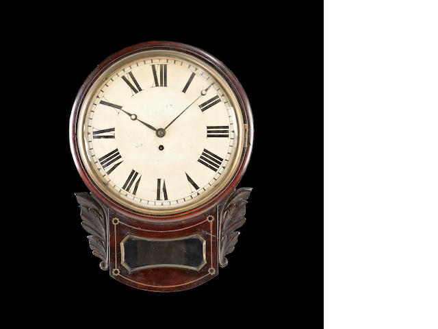 A William IV mahogany drop dial fusee wall timepiece