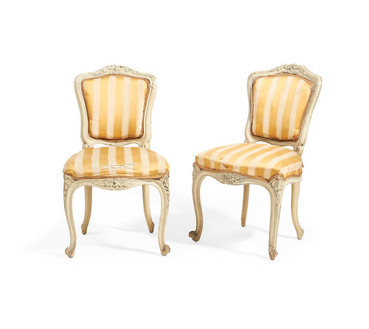 A pair of French 19th century painted side chairs in the Louis XV style