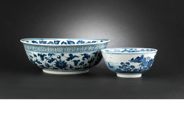 Two blue and white bowls