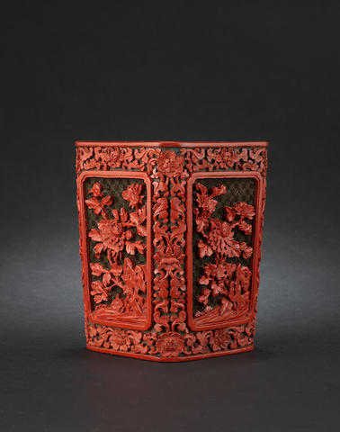 A fine two-colour lacquer squared brush pot, bitong 18th century