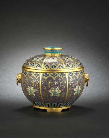 An unusual, lavender-ground cloisonné bowl and cover 19th century