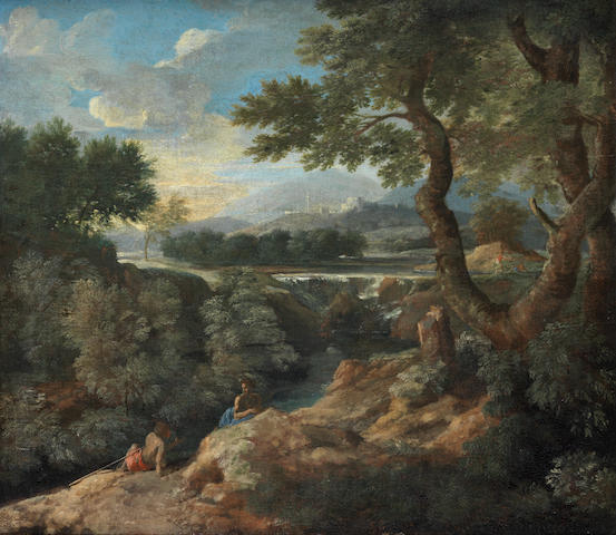 Gaspard Dughet, called Gaspard Poussin (Rome 1615-1675) Figures conversing in an Arcadian landscape, with a walled city in the distance