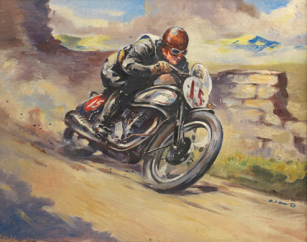 H. J. Moser, 'Harold Daniell - Norton at 1938 Isle of Man Senior TT',
