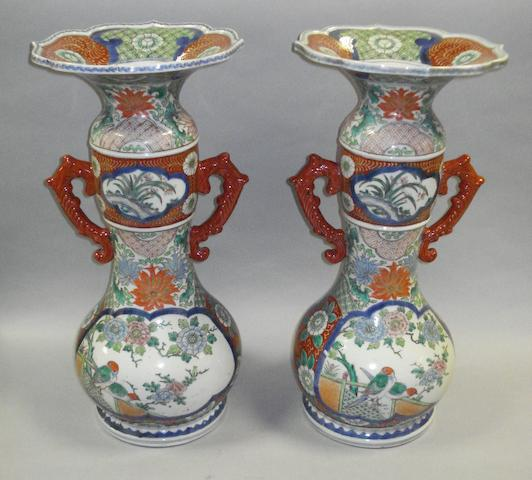 A pair of Japanese Imari-type twin handled vases Meiji Period
