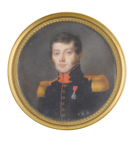 French School, circa 1800 An Officer, wearing dark blue coat with standing collar edged with scarlet piping, gold epaulettes, the Legion d'Honneur pinned to his left breast, white chemise and black stock