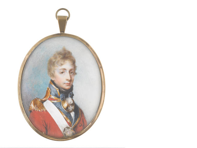 George Place (Irish, died 1805) An Officer, wearing red coat with blue facings edged with gold, gold epaulette, brass gorget dressed with blue tassels, white cross belt with oval regimental belt plate, white frilled chemise and black stock