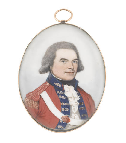 Frederick Buck (Irish, 1771-circa 1840) An Officer, wearing red coat with dark blue facings edged with gold, red epaulette with gold tassels, white cross-belt with oval regimental belt-plate, white waistcoat and frilled chemise, black stock, his hair lightly powdered