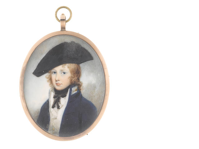 Circle of George Engleheart (British, 1750-1829) A Midshipman, wearing blue coat with standing collar, white waistcoat, chemise and concertinaed cravat, his black stock tied beneath his chin and his natural hair worn loose beneath a black bicorn hat