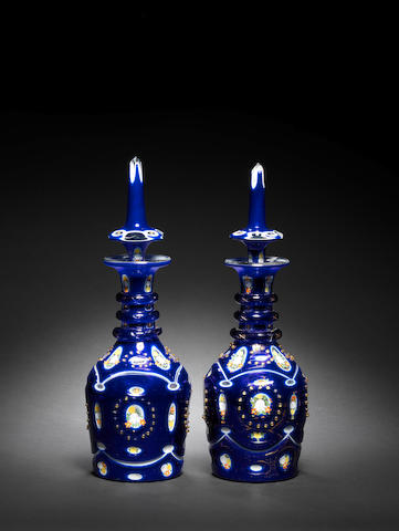 A pair of Bohemian blue glass Decanters for the Ottoman market 19th Century(2)
