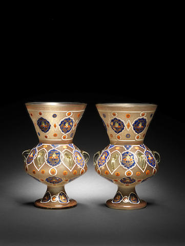 A pair of Mamluk style gilt and enamel glass Mosque Lamps late 19th Century(2)