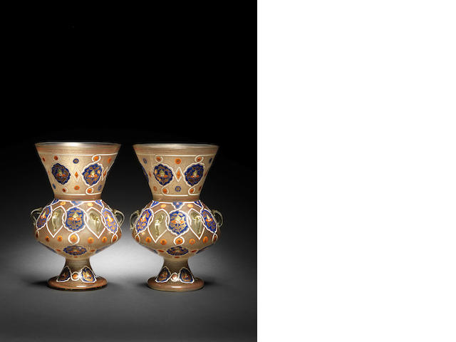 A pair of Mamluk style gilt and enamel glass Mosque Lamps (2)