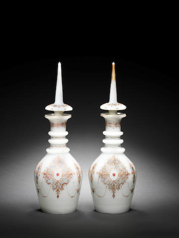 A pair of Bohemian opaline white Decanters