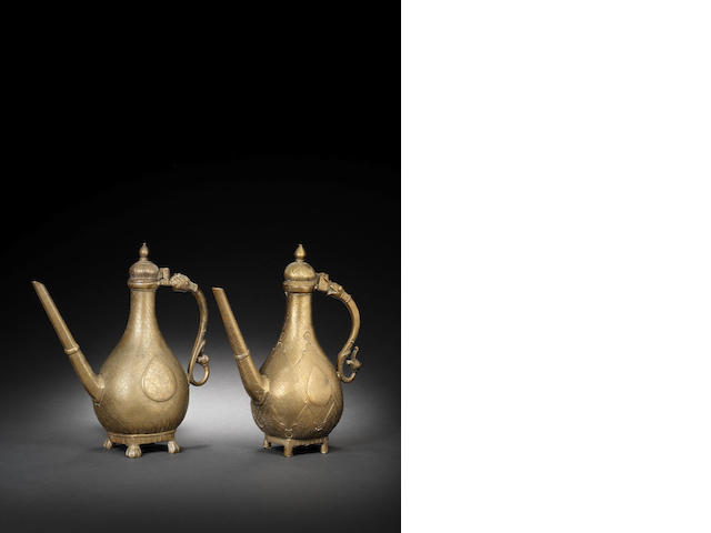 Two Mughal brass Ewers probably Deccan, 18th Century(2)