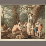 "W Burgess A Summer Evening Repast Etching, with aquatint by J W Edye, printed in colours, on wove, with narrow margins, published October 6th, 1788 by J Harris, 435 x 555mm (17 1/8 x 21 7/8in)(PL). Together with ""  ""   ""The Weary Sportsman"" and ""The Lucky Sportsman"" engraved by Soiron after Morland, ""Rural Felicity"" and ""Sportive Innocence"" after Loutherbourgh by William Smith, various other decorative works after Singleton, Stothard and Bunbury 18 unframed"