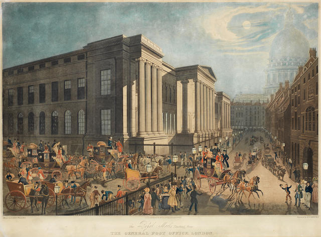 James Pollard (British, 1797-1867) The Royal Mails Starting from The General Post Office London Aquatint, printed in colours and finished with hand colouring, on wove, published by Thomas McLean, April 19th, 1830, engraved by R G Reeves, 490 x 660mm (19 1/4 x 26in)(SH). With various others, three maritime engravings, views of Dublin and Paris, a group of rural vignettes and four landscapes after Gainsborough 17 unframed