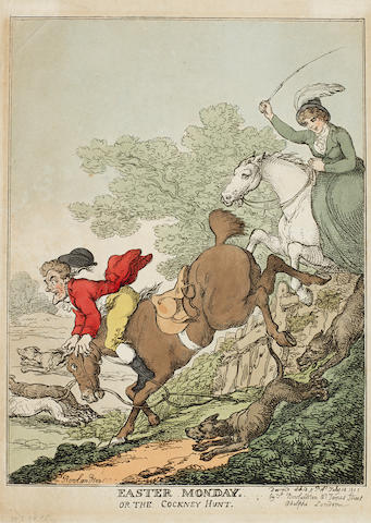 Thomas Rowlandson (British, 1756-1827) EASTER MONDAY. Or The Cockney Hunt. Etching, with hand colouring, on wove, dated 1815, published by the artist, July 14th, 1817; 350 c 250mm (13 3/4 x 9 7/8in)(SH). Together with an extensive collection of decorative prints, comprising costume, romantic, bawdy and portrait subjects.  unframed EASTER MONDAY. Or The Cockney Hunt. Etching, with hand colouring, on wove, dated 1815, published by the artist, July 14th, 1817; 350 c 250mm (13 3/4 x 9 7/8in)(SH). Together with an extensive collection of decorative prints, comprising costume, romantic, bawdy and portrait subjects.  collection unframed