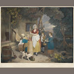 Francis Wheatley (London 1747-1801) The Rustic Hours Mezzotints, the set of four, on laid, with narrow margins, extensively hand coloured, published by James Daniel and Co., 1800, engraved by Henry Gillbank, 485 x 585mm (19 x 23in)(PL) 4 unframed