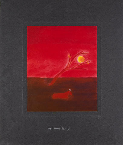 Craigie Aitchison CBE RA (British, 1926-2009) Ram in moonlight Screenprint in colours, 2000, on wove, signed, dated and numbered 15/75 in silver ink, published by Advanced Graphics, London, with their blindstamp, the full sheet, 511 x 439mm (20 1/8 x 17 3/8in)(SH)(unframed)