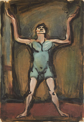 Georges Rouault (French, 1871-1958) Le Jongleur (from Le Cirque) Aquatint printed in colours, 1930, on BFK Rives, 309 x 214mm (12 1/8 x 8 1/2)(PL)(unframed)