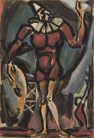 Georges Rouault (French, 1871-1958) Le clown a la grosse caise (from Le Cirque) Aquatint printed in colours, 1930, on BFK Rives, 311 x 213mm (12 1/4 x 8 1/2)(PL)(unframed)