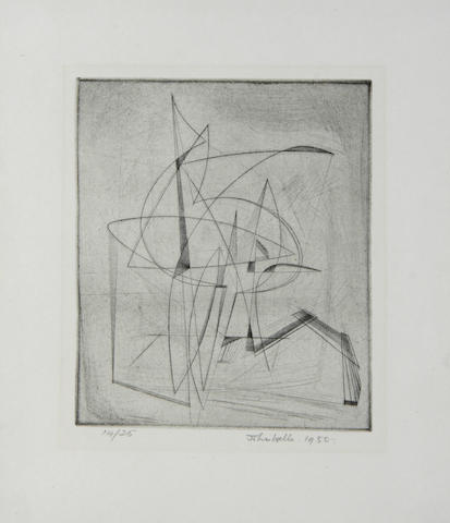 John Wells (British 1907-2000) Topsail Etching printed with tone, 1950, on wove, signed, dated and numbered 14/25 in pencil, printed by the artist at Penzance School of Art, published by the artist, with full margins, 146 x 121mm (5 3/4 x 4 3/4in)(PL)