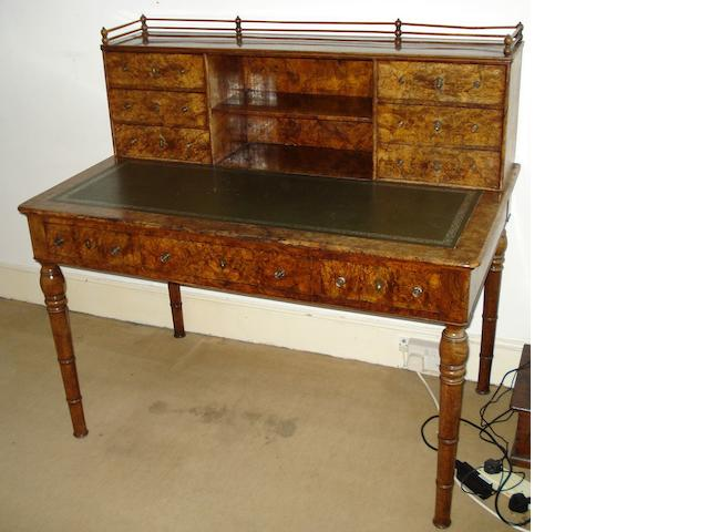 A Victorian burr walnut writing table,