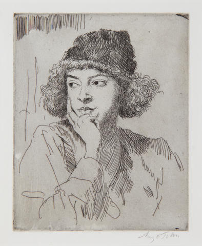 Sir Augustus Edwin John (British, 1878-1961) A Girl's Head-F (The Wollen Hat) (Campbell Dodgson 66) Etching printed with tone, 1919, on laid, signed in pencil, from the edition of 50, 175 x 140mm (6 7/8 x 5 1/2in)(PL)
